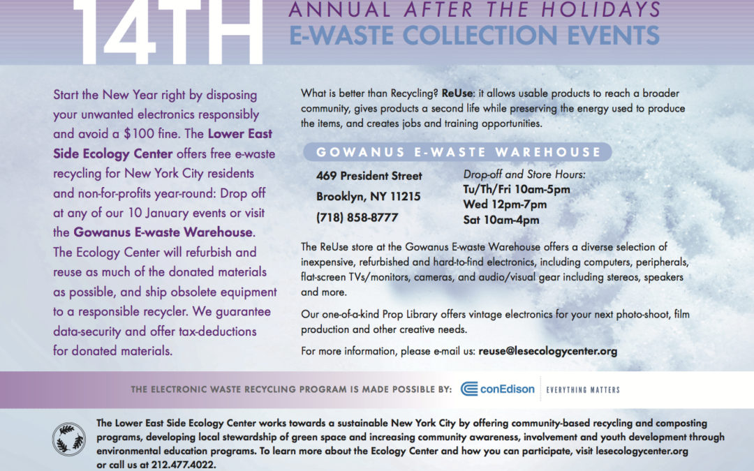 2017 Winter E-Waste Events Are Here!